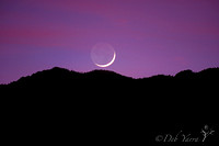 The Thin Crescent Moon at Sunset